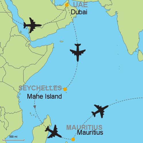 Mauritius Seychelles Map